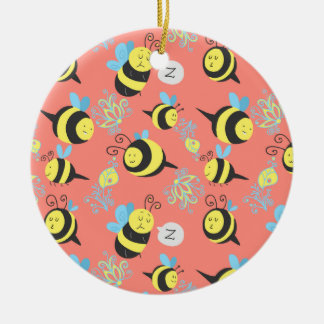 Silly Cartoon Bees Pattern Christmas Ornament