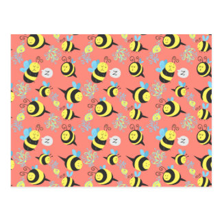 Silly Cartoon Bees Pattern Postcard