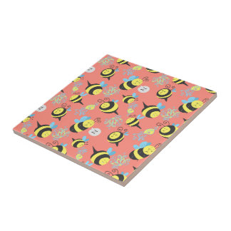 Silly Cartoon Bees Pattern Tile