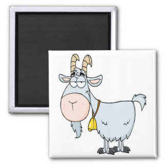 silly cartoon billy goat 2 inch square magnet
