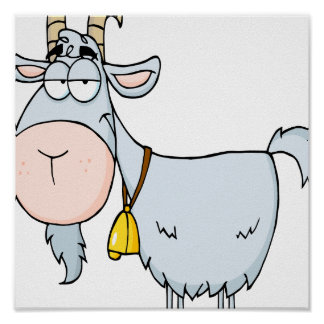 silly cartoon billy goat poster