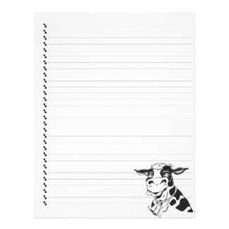 Silly Cartoon Dairy Cow Lined Pet Letterhead