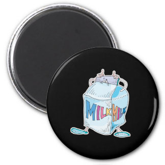 silly cartoon milk character 2 inch round magnet