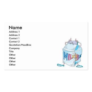 silly cartoon milk character business card