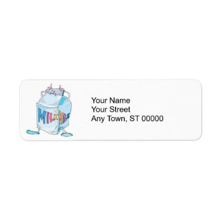 silly cartoon milk character label