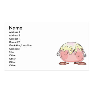 silly cartoon pastry cream puff character business card