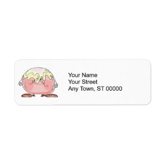 silly cartoon pastry cream puff character label
