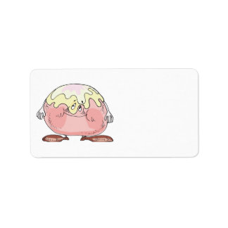 silly cartoon pastry cream puff character personalized address label