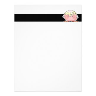 silly cartoon pastry cream puff character letterhead