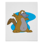 silly cartoon platypus poster