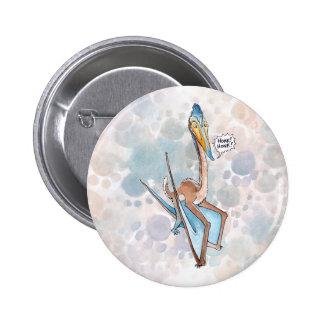 Silly Cartoon Quetzalcoatlus Pterosaur Button