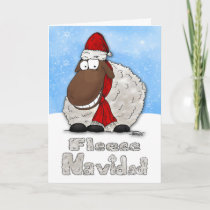 Silly Cartoon Sheep Fleece Navidad Christmas Card