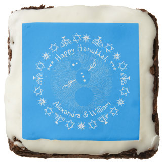 Silly Cartoon Snowman Personalized Hanukkah Square Brownie