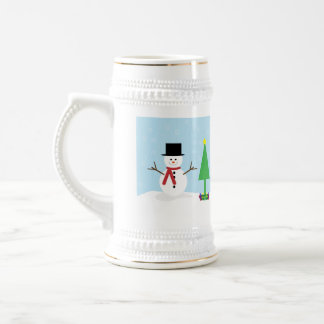 Silly Cartoon Snowman with gifts & Christmas Tree Beer Stein