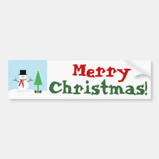 Silly Cartoon Snowman with gifts & Christmas Tree Bumper Sticker