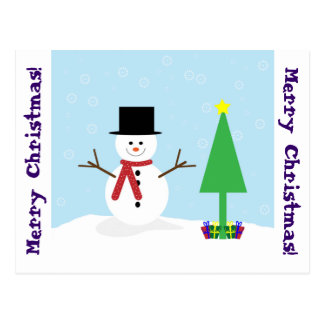 Silly Cartoon Snowman with gifts & Christmas Tree Postcard