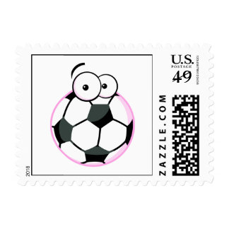 silly cartoon soccer ball character pink stamp