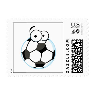 silly cartoon soccer ball character stamps