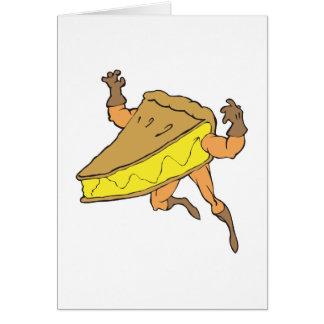 silly cartoon superhero strong pumpkin pie slice card