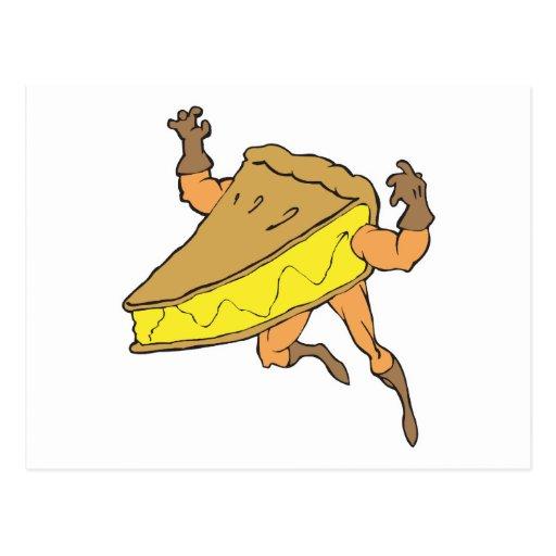silly cartoon superhero strong pumpkin pie slice postcard