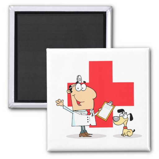 Silly Cartoon Vet Veterinarian Magnets