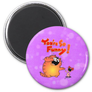 silly cat 2 inch round magnet