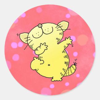 Silly Cat Dance Classic Round Sticker