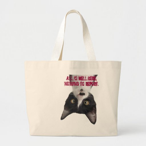 silly cat reports jumbo tote bag