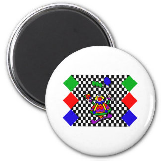 Silly checker background clown fridge magnets