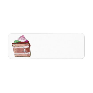 silly chocolate cake cartoon character return address label