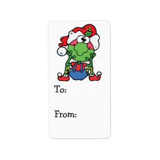 silly christmas froggy elf address label