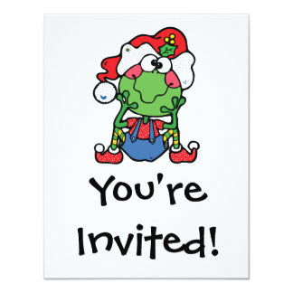 silly christmas froggy elf 4.25x5.5 paper invitation card
