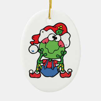 silly christmas froggy elf Double-Sided oval ceramic christmas ornament