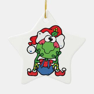 silly christmas froggy elf Double-Sided star ceramic christmas ornament