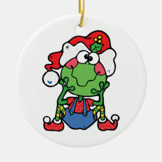 silly christmas froggy elf Double-Sided ceramic round christmas ornament
