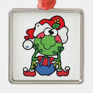 silly christmas froggy elf square metal christmas ornament