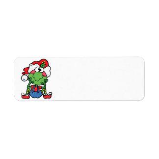 silly christmas froggy elf return address label