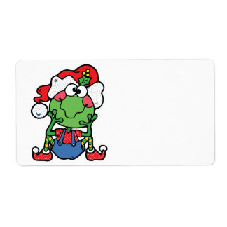 silly christmas froggy elf shipping label