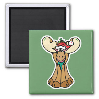 silly christmas moose 2 inch square magnet