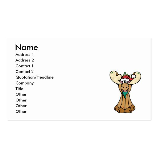 silly christmas moose Double-Sided standard business cards (Pack of 100)