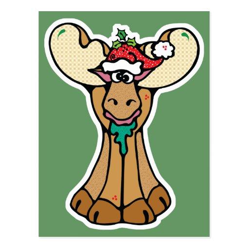 silly christmas moose postcard