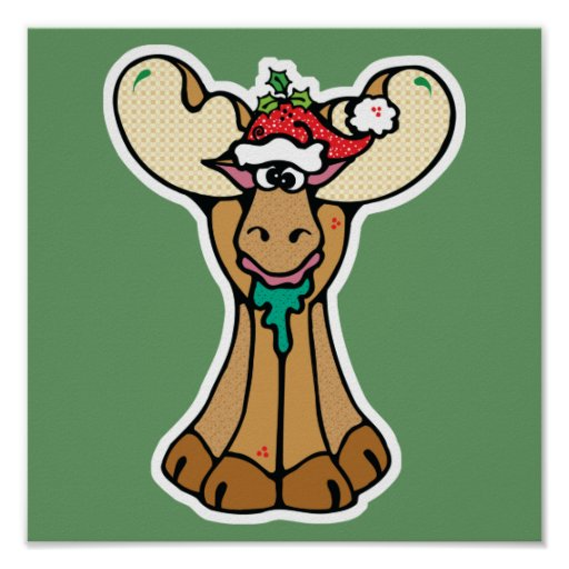 silly christmas moose poster