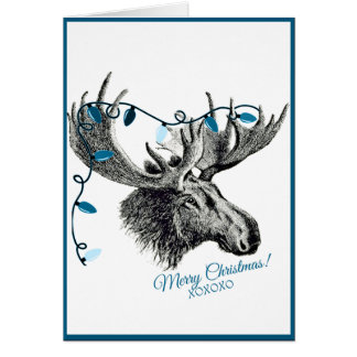 Silly Christmas Moose with Blue Lights Greeting Card