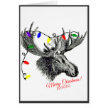 Silly Christmas Moose with Holiday Lights Greeting Card
