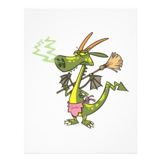 silly cleaning dragon lady cartoon full color flyer