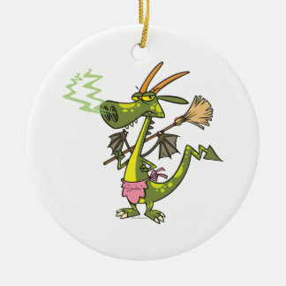 silly cleaning dragon lady cartoon christmas tree ornaments