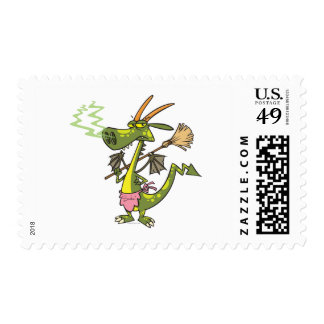 silly cleaning dragon lady cartoon stamp