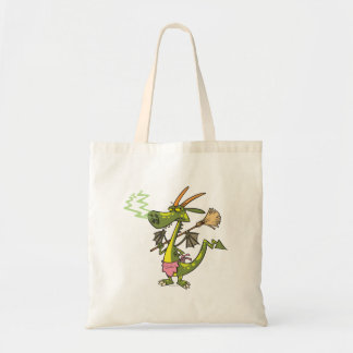 silly cleaning dragon lady cartoon tote bag