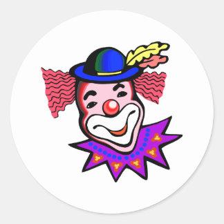 silly clown head classic round sticker