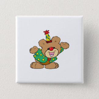silly clown teddy bear design button